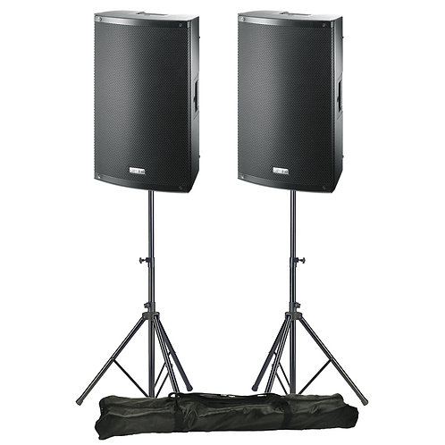 """2x FBT X-LITE 12A PRO 12"""" 2000W POWERED PA SPEAKERS OR MONITORS WITH STANDS"""