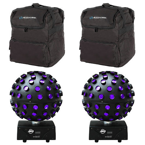 2x AMERICAN DJ ADJ STARBURST LED MIRROR BALL EFFECT DISCO LIGHT + CARRY BAGS