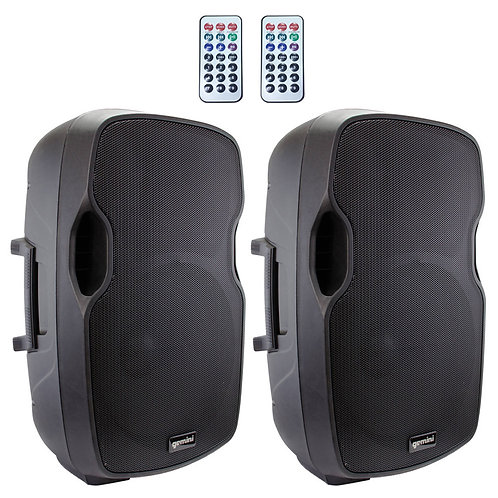 "2x GEMINI AS-15BLU 15"" 4000W POWERED BLUETOOTH PA SPEAKERS + USB SD MP3 PLAYERS"