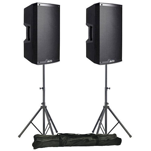 "2x ALTO TS212W 12"" 1100W RMS POWERED PA BLUETOOTH SPEAKERS + STANDS HIRE"