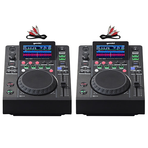 2x GEMINI MDJ-500 USB MP3 MIDI DJ DECK MEDIA PLAYER CONTROLLER 24-BIT SOUNDCARD