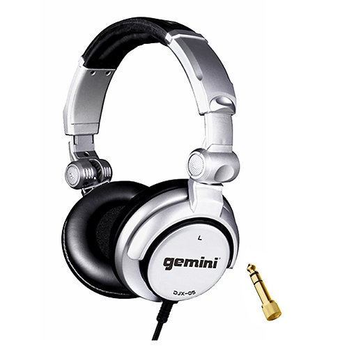 GEMINI DJX-05 FOLDABLE LIVE DJ OR STUDIO HEADPHONES + DETACHABLE CABLE + ADAPTER