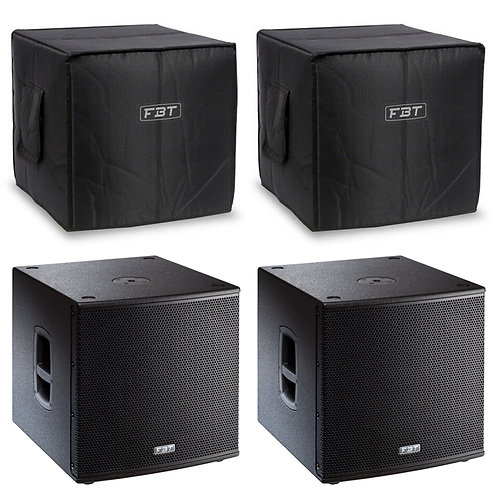 "2x FBT SUBLINE 115SA 15"" 2800W POWERED PA SUBWOOFER SUB BASS SPEAKER + COVERS"