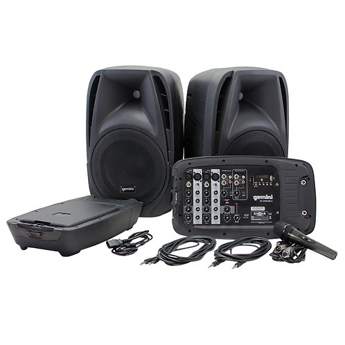 GEMINI ES-210MX-BLU 600W PA SPEAKER SYSTEM +MIXER +MEDIA PLAYER +MIC +BLUETOOTH
