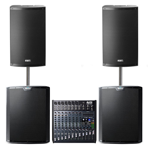 BAND GIG GEAR LARGE PA PACKAGE HIRE 3250W SPEAKERS + SUBS + 12-CHANNEL MIXER