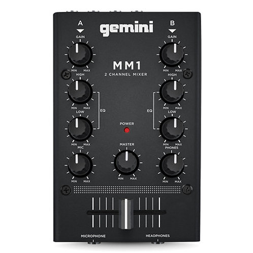 GEMINI MM1 COMPACT 2-CHANNEL SCRATCH DJ MIXER WITH MIC INPUT + EQ HIRE