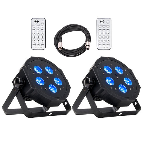 2x AMERICAN DJ ADJ MEGA HEX PAR RGBAW UV LED STAGE LIGHT UPLIGHT + REMOTE + LEAD