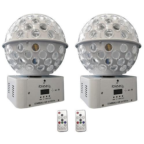 2x IBIZA LIGHT STARBALL-GB WHITE GOBO + BEAM FX LED MIRRORBALL DJ DISCO LIGHTING