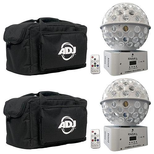 2x IBIZA LIGHT STARBALL-GB WHITE GOBO + BEAM FX LED MIRRORBALL DJ DISCO + BAGS