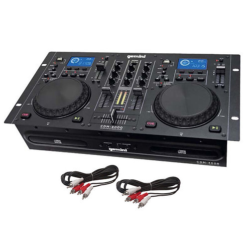 GEMINI CDM-4000 DUAL TWIN CD USB MP3 DJ MEDIA PLAYER WITH 2-CHANNEL MIXER 19""