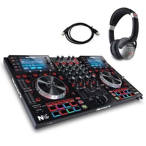 NUMARK NV II USB MIDI MP3 4-DECK DJ CONTROLLER + SERATO DJ SOFTWARE + HEADPHONES