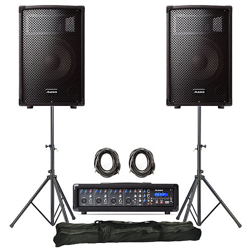 ALESIS PA SYSTEM IN A BOX 280W PA SPEAKERS + MIXER WITH FX + LEADS + STANDS