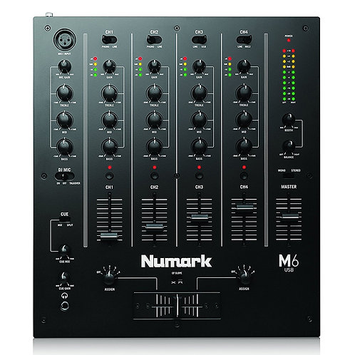 NUMARK M6 USB PROFESSIONAL 4-CHANNEL SCRATCH DJ MIXER WITH 2x MIC INPUT + EQ