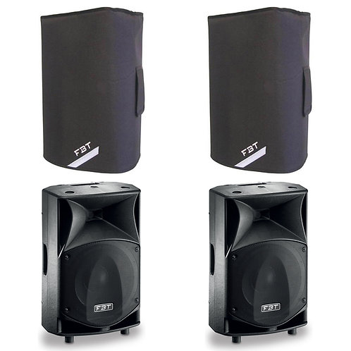 "2x FBT JMAXX 114A PROFESSIONAL 14"" 1800W POWERED PA SPEAKER OR MONITOR + COVERS"