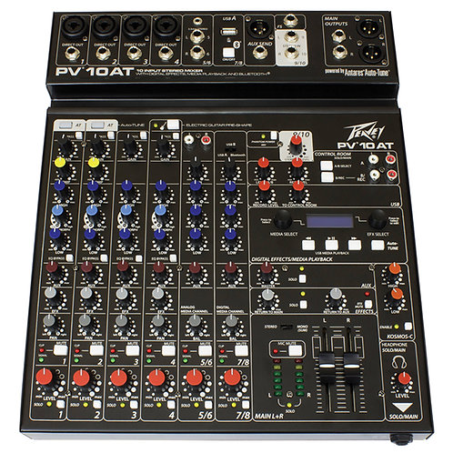 PEAVEY PV10 AT 8-CHANNEL MIXING DESK + USB STUDIO MIXER WITH AUTO-TUNE + BT +FX