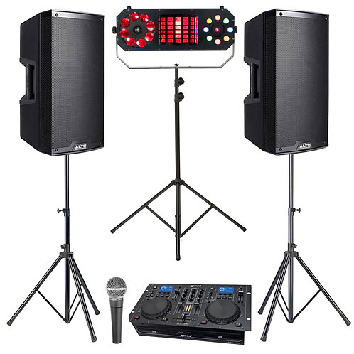 PLUG & PLAY CD DISCO PACKAGE HIRE 1100W SPEAKERS + DUAL CD PLAYER + LIGHTS + MIC