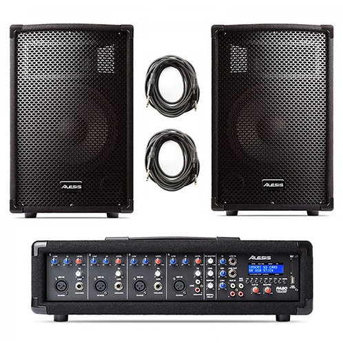 ALESIS PA SYSTEM IN A BOX 280W PA SPEAKERS + 4-CHANNEL MIXER WITH FX + LEADS