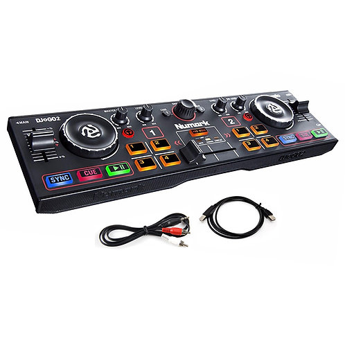 NUMARK DJ2GO2 PORTABLE USB MIDI DJ CONTROLLER + SOUND CARD + SERATO DJ SOFTWARE