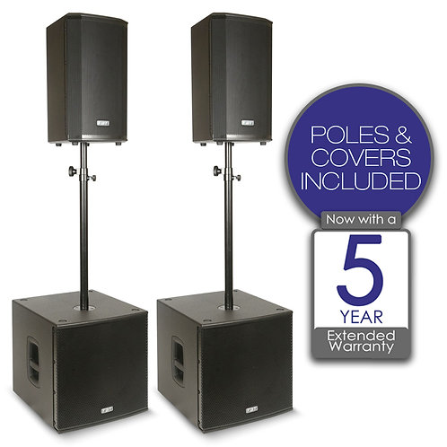 FBT VN3000 2x VENTIS 110A SPEAKER + 2x SUBLINE 115SA SUBWOOFER PA SYSTEM +COVERS
