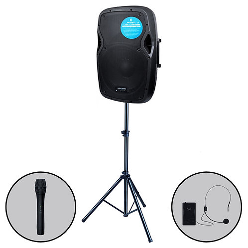 KAM RZ12A V3 PORTABLE 800W BATTERY POWERED PA SPEAKER BLUETOOTH MP3 +MICS +STAND