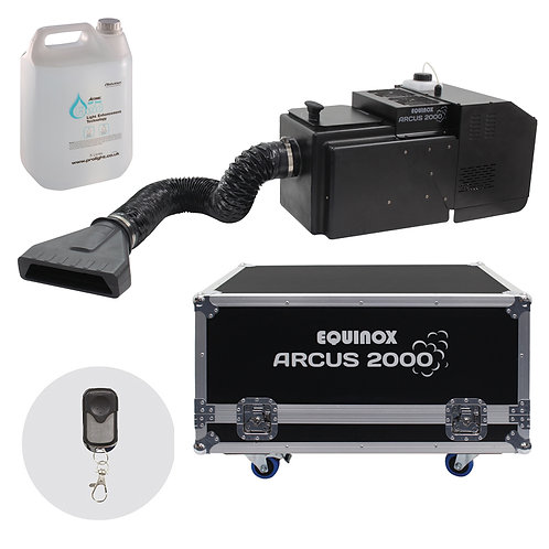 EQUINOX ARCUS 2000 LOW FOG FOGGER DRY ICE EFFECT MACHINE + FLIGHTCASE + 5L FLUID