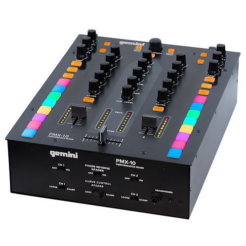 GEMINI PMX-10 2 CHANNEL DIGITAL DJ MIXER + MIDI CONTROLLER WITH SOUNDCARD + USB