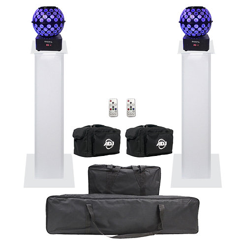 2x IBIZA LIGHT STARBALL-GB MIRRORBALL + BAGS + EQUINOX 1m PLINTH PODIUM PACKAGE