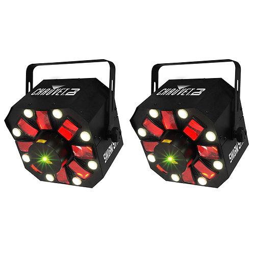 2x CHAUVET SWARM 5 FX 3-IN-1 LED DERBY + STROBE LIGHT + RED GREEN LASER DJ DISCO