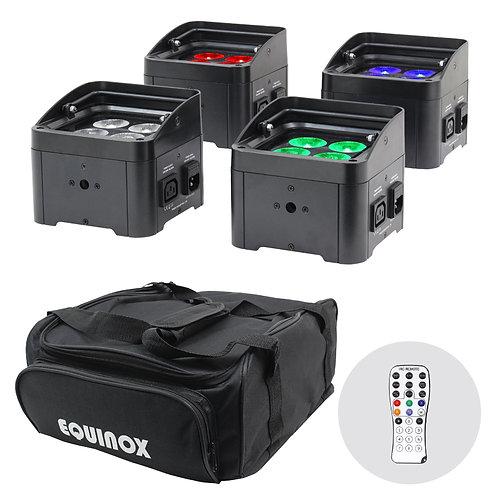EQUINOX COLOUR RAIDER UPLIGHTER PACK 4x RGBW LED PAR CAN WASH LIGHT +BAG +REMOTE