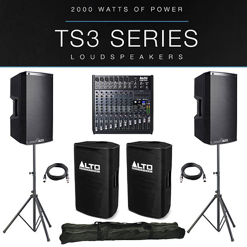 2x ALTO TS312 4000W ACTIVE PA SPEAKER PACKAGE +COVERS +STANDS +LIVE 1202 MIXER