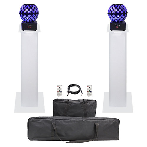 2x IBIZA LIGHT STARBALL-GB LED MIRRORBALL + EQUINOX 1m PLINTH PODIUM KIT + LEAD