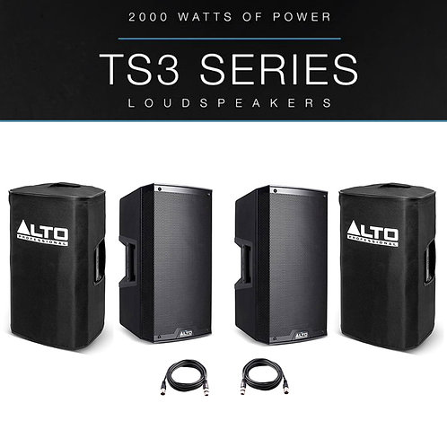 """2x ALTO TS312 12"""" 4000W POWERED ACTIVE PA SPEAKER DISCO DJ BAND + COVERS + LEADS"""