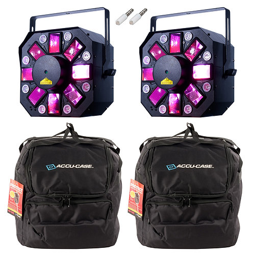 2x AMERICAN DJ ADJ STINGER II MOONFLOWER + UV HEX LED LIGHT + LASER FX + BAGS