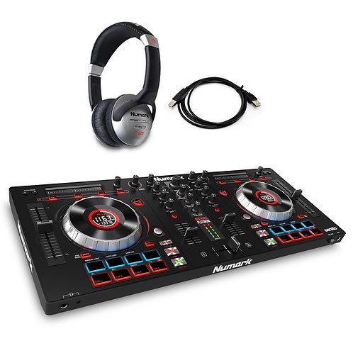 NUMARK MIXTRACK PLATINUM USB MIDI QUAD 4-DECK CONTROLLER + SERATO DJ +HEADPHONES