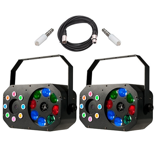 2x AMERICAN DJ ADJ STINGER GOBO LED MOONFLOWER GOBO + WASH LIGHT + LASER + LEAD