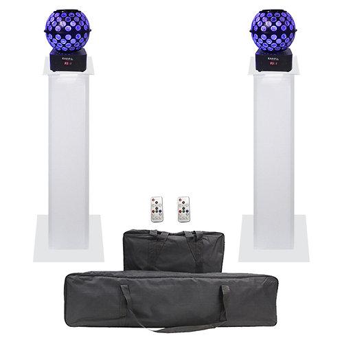 2x IBIZA LIGHT STARBALL-GB LED MIRRORBALL + EQUINOX 1m PLINTH PODIUM DISCO KIT