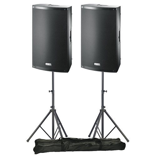 "2x FBT X-LITE 15A 15"" 2000W RMS POWERED PA SPEAKERS + STANDS HIRE"