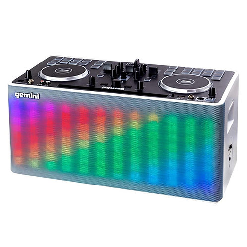 GEMINI MIX2GO BATTERY POWERED 2-CH BLUETOOTH DJ CONTROLLER + LIGHT FX + SPEAKER