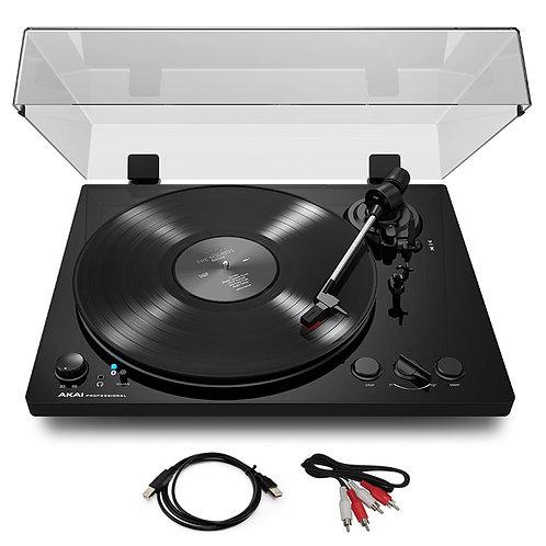 AKAI BT100 BLACK HI-FI TURNTABLE RECORD PLAYER + BLUETOOTH + CARTRIDGE +SOFTWARE