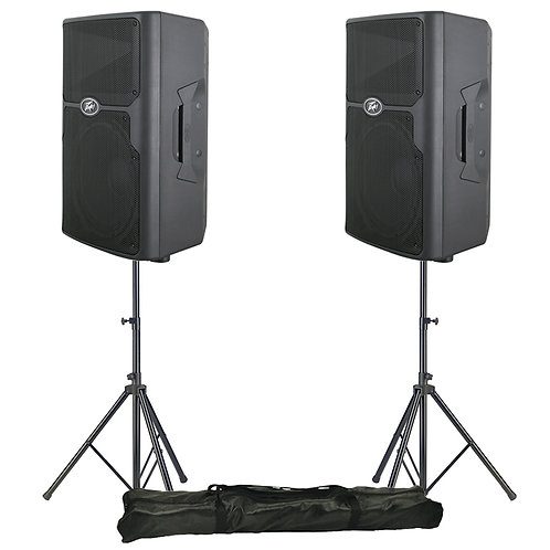 "2x PEAVEY PVX 15 15"" 1600W PASSIVE PA SPEAKER OR MONITOR DJ BAND CLUB + STANDS"