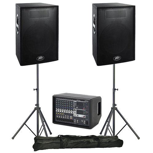 BAND GIG GEAR PA PACKAGE HIRE 600W SPEAKERS + 12-CHANNEL MIXER WITH FX