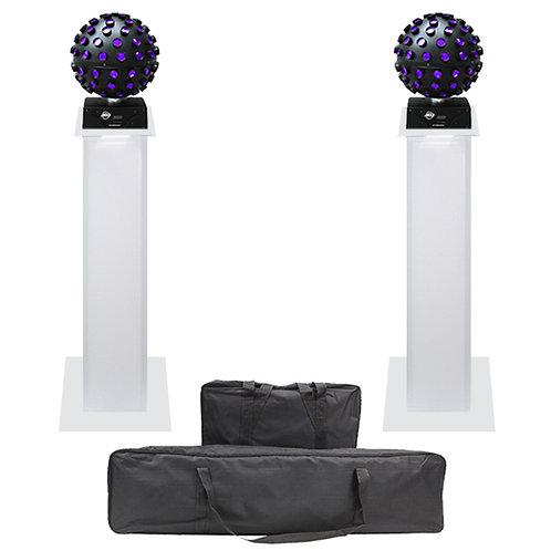 2x AMERICAN DJ ADJ STARBURST LED MIRROR BALL FX LIGHT + EQUINOX 1m PLINTH KIT