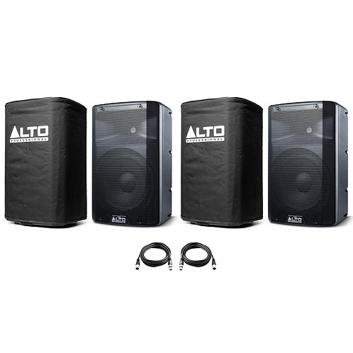 """2x ALTO TX210 10"""" 600W POWERED ACTIVE PA SPEAKER OR MONITOR + LEADS + COVERS"""