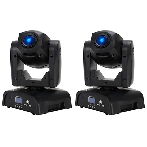 2x AMERICAN DJ ADJ POCKET PRO MULTI-COLOUR LED MOVING HEAD GOBO + SPOT LIGHTS