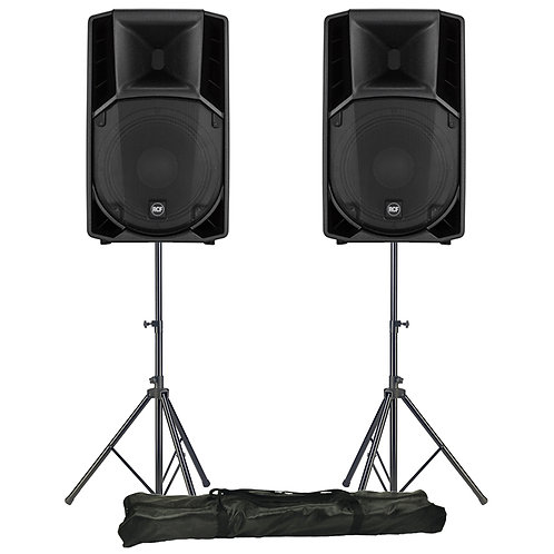 """2x RCF ART 715-A MK4 15"""" 2800W POWERED ACTIVE PA SPEAKER DISCO BAND CLUB +STANDS"""
