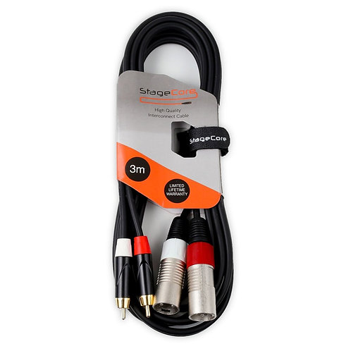 2x STAGECORE 3M MALE RCA PHONO TO MALE XLR CABLE AUDIO CABLE RCA-XLRM LEAD