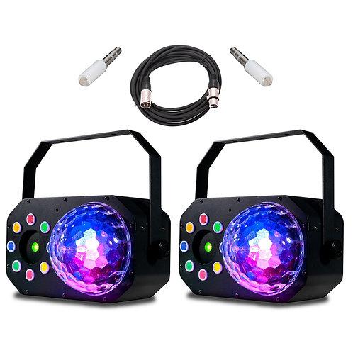 2x AMERICAN DJ ADJ STINGER STAR 3-IN-1 LED MOONFLOWER + WASH LIGHT + LASER +LEAD