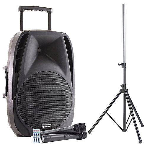 GEMINI ES-15TOGO BATTERY POWERED PA SPEAKER + BLUETOOTH USB SD MP3 + MICS HIRE