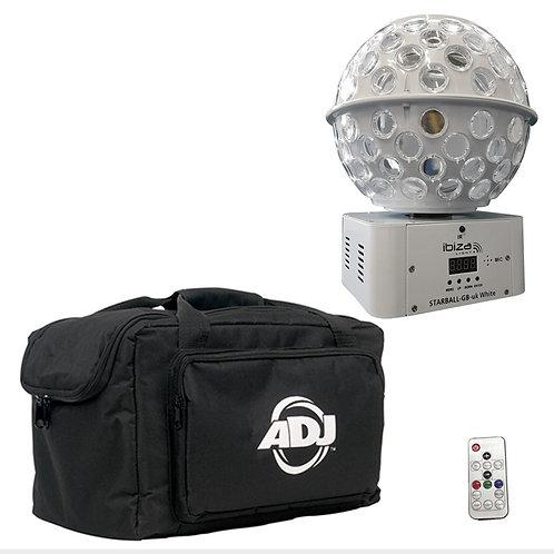 IBIZA LIGHT STARBALL-GB WHITE GOBO + BEAM FX LED MIRRORBALL DJ DISCO LIGHT + BAG