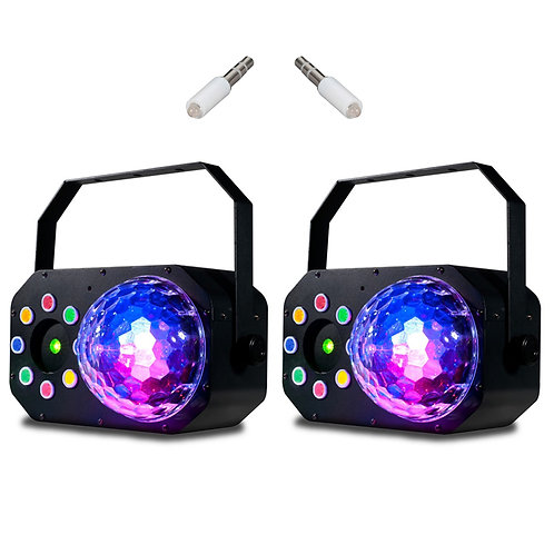 2x AMERICAN DJ ADJ STINGER STAR 3-IN-1 LED MOONFLOWER + WASH LIGHT + LASER FX